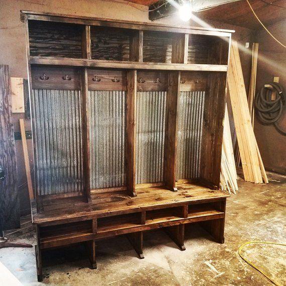 72 Rustic Tin Mudroom Locker Etsy Mudroom Lockers Rustic Home Interiors Rustic House