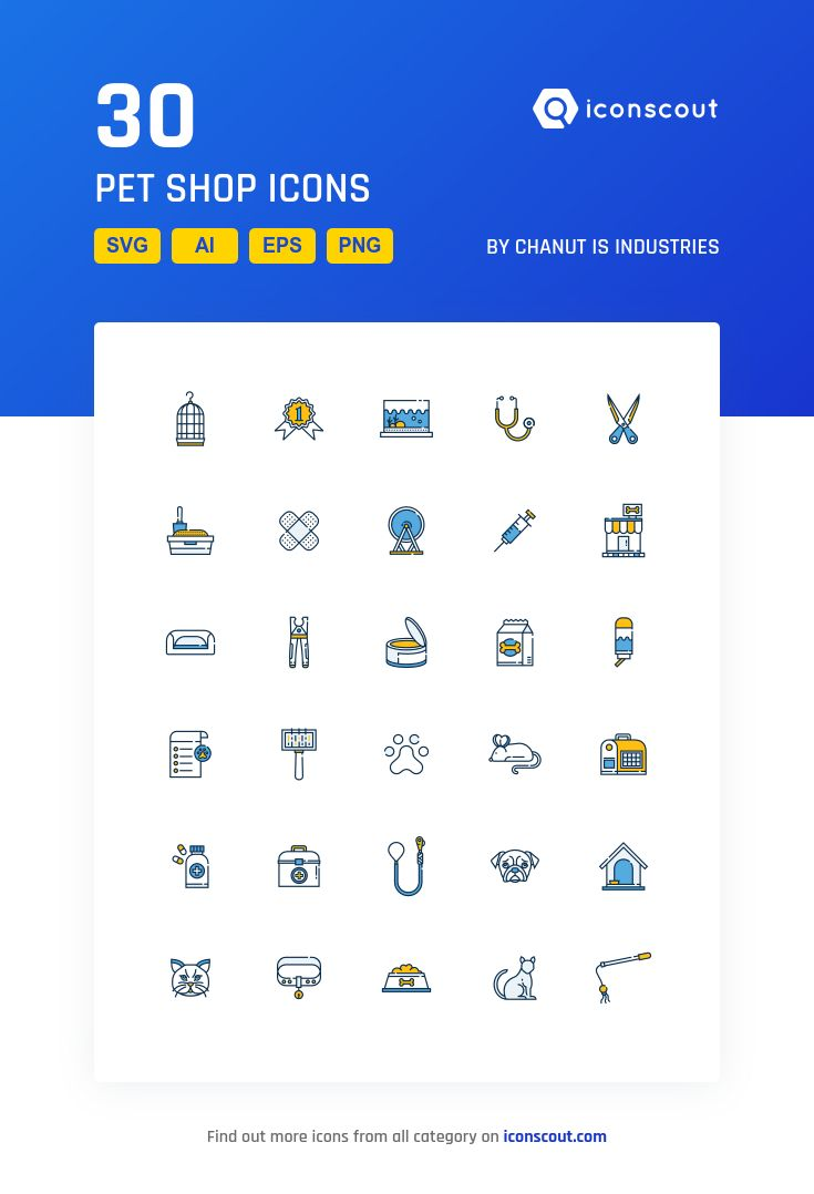 Pet Shop  Icon Pack - 30 Filled Outline Icons