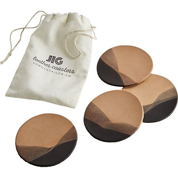 set of 4 jig charcoal dipped leather coasters | CB2