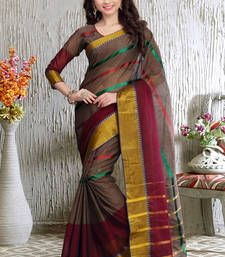 Buy Brown and Maroon printed cotton saree With Blouse cotton-saree online
