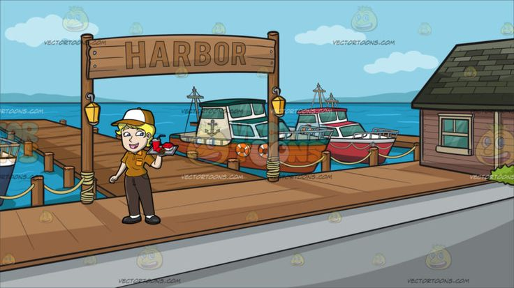 A Female Fast Food Employee Serving Orders At A Small Town Harbor :  A woman with short blonde hair wearing a golden brown with white cap golden brown polo shirt with orange collar and pocket dark brown pants white socks and black shoes parts her lips to smile in happiness as she carries a gray tray in her left hand to deliver the fast food value meal order to a customer. Set in a view of the local harbor with wooden deck sign with the word harbor three parked yachts and a house with dark…