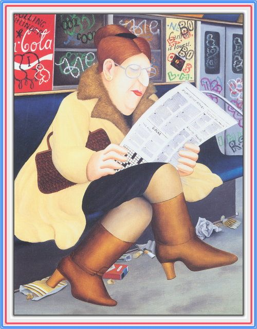 'Reading the Newspaper' - by Beryl Cook (British Artist, 1926–2008). Using a paintbox set bought for her by her son in her forties, discovered a gift for painting. She has since gone on to become one of Britains favourite painters, with her humerous 'snapshots' of British life.