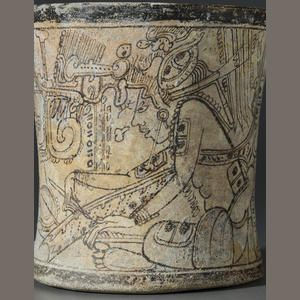 Important and Rare Maya Codex Style Vase,Late Classic, ca. A.D. 650 - 950