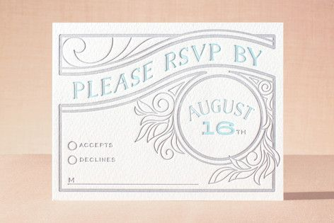 """Antique Press"" - Letterpress Rsvp Cards in Pool by GeekInk Design."