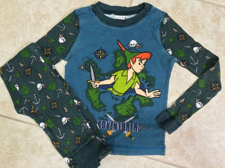 ☀️ Disney Boys Girls Peter Pan Green Blue Sleepwear Long