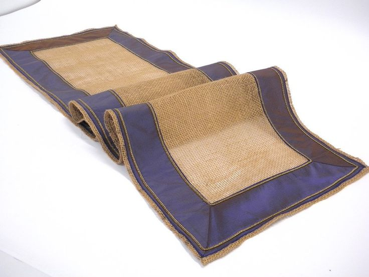 Modern Burlap Table Runner Transparent Rustic, Blue Border With Old Gold  Cord Tabletop Christmas Decor
