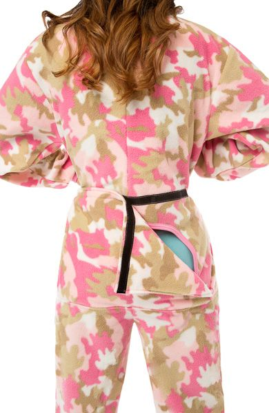 Pink Camouflage Micro-Polar Fleece Adult Footed Pajamas