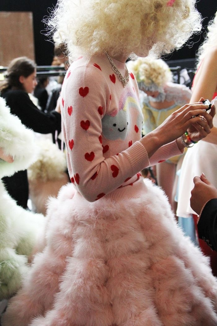 Meadham Kirchhoff fluffy pink skirt & heart top... adorable!