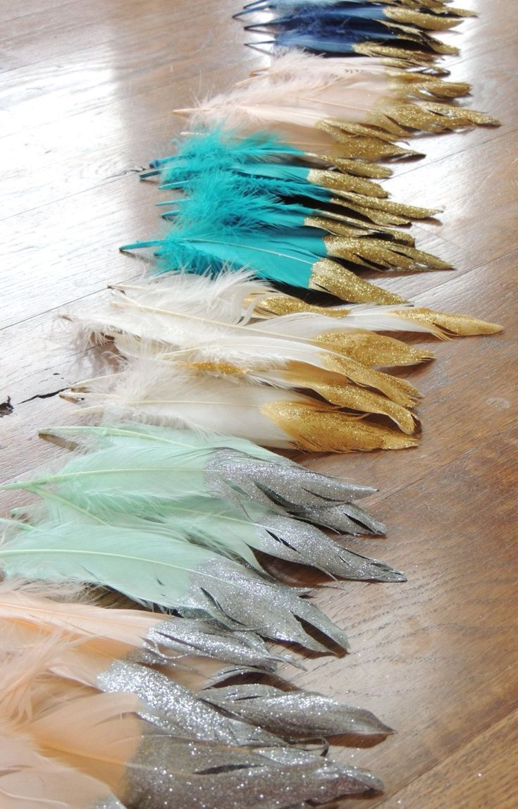 Gold Glitter Dipped Feathers Wedding Decor Birthday Party Tribal Boho Garland Glitter Tipped Wild One Photo Prop Nursery by JadeandJo on Etsy