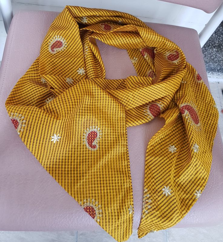 Yellow and Black Check Spiral Scarf with Red, White and Gold Mango Pattern Embroidery by KalaaStudio on Etsy