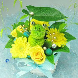 キュート!ポンポンマム(菊の花)で出来たカエルのフラワーアレンジメント。Cute! An animal doll made with chrysanthemums.