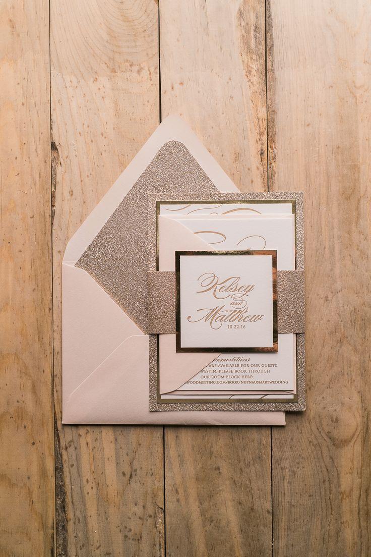 Letterpress+Wedding+Invitations,+Blush+and+Gold,+Blush+and+Gold+Glitter,+Black+Tie+Wedding+Stationery,+Formal,+Theresa+Suite,+Jupiter+and+Juno