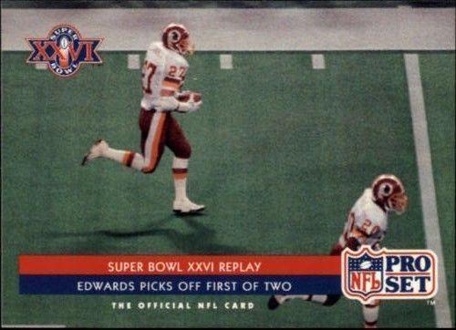 Brad Edwards 1992 Pro Set Super Bowl XXVI Replay #65 Washington Redskins