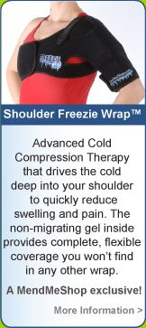 Freezie Wrap Shoulder - efficient relief of swelling and pain from an active sprain, shoulder strain, whiplash, or tight upper back muscles