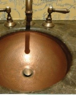 "Antique finish copper sink. Hand hammered, 16 gauge.   16 1/2"" D x 6"""