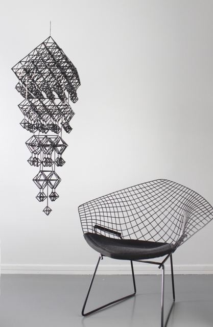 Perfect space. Diamond Bertoia space and an himmeli mobile.