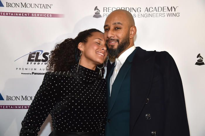 Alicia Keys Swizz Beatz  - Stars at pre-parties for the 2018 Grammy Awards