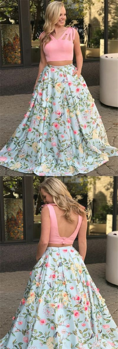 fashion two piece flower prom dress with appliques, chic a-line long pink floral evening dress with bowknot