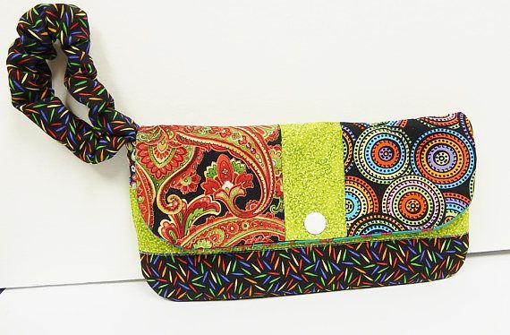 Fabric Wristlet Purse Small Handbag Multicolored Bold