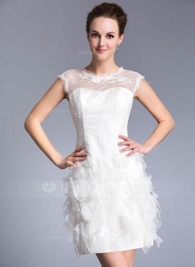 Wedding Dresses - $129.99 - Sheath/Column Scoop Neck Short/Mini Lace Wedding Dress With Beading Flower(s) Sequins (002047450) http://jjshouse.com/Sheath-Column-Scoop-Neck-Short-Mini-Lace-Wedding-Dress-With-Beading-Flower-S-Sequins-002047450-g47450?snsref=pt&utm_content=pt