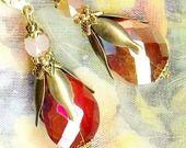 Boucles ❀ GOUTTES COGNAC ORANGE cristal ❀ OR726 : Boucles d'oreille par atelier-angelique