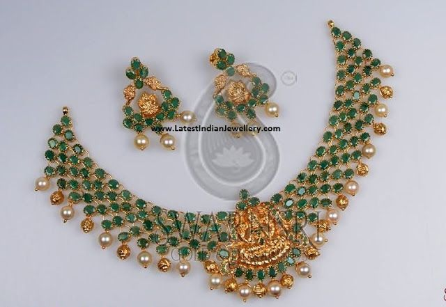 Emerald Laxmi Necklace