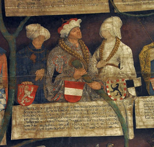 Albrecht III Burgrave of  Neuremberg and his wives Elisabeth of Luxemburg and  Beatrix von Zollern,1497