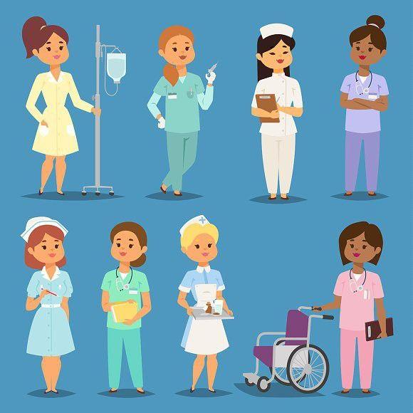 Cartoon Woman Doctors Nurses Vector Female Doctor Nurse Art Nurse