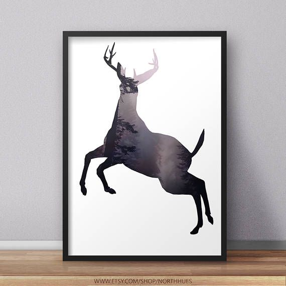 Deer Poster - Forest Background 🌲https://www.etsy.com/no-en/listing/528385729/deer-art-print-minimalist-wall-art