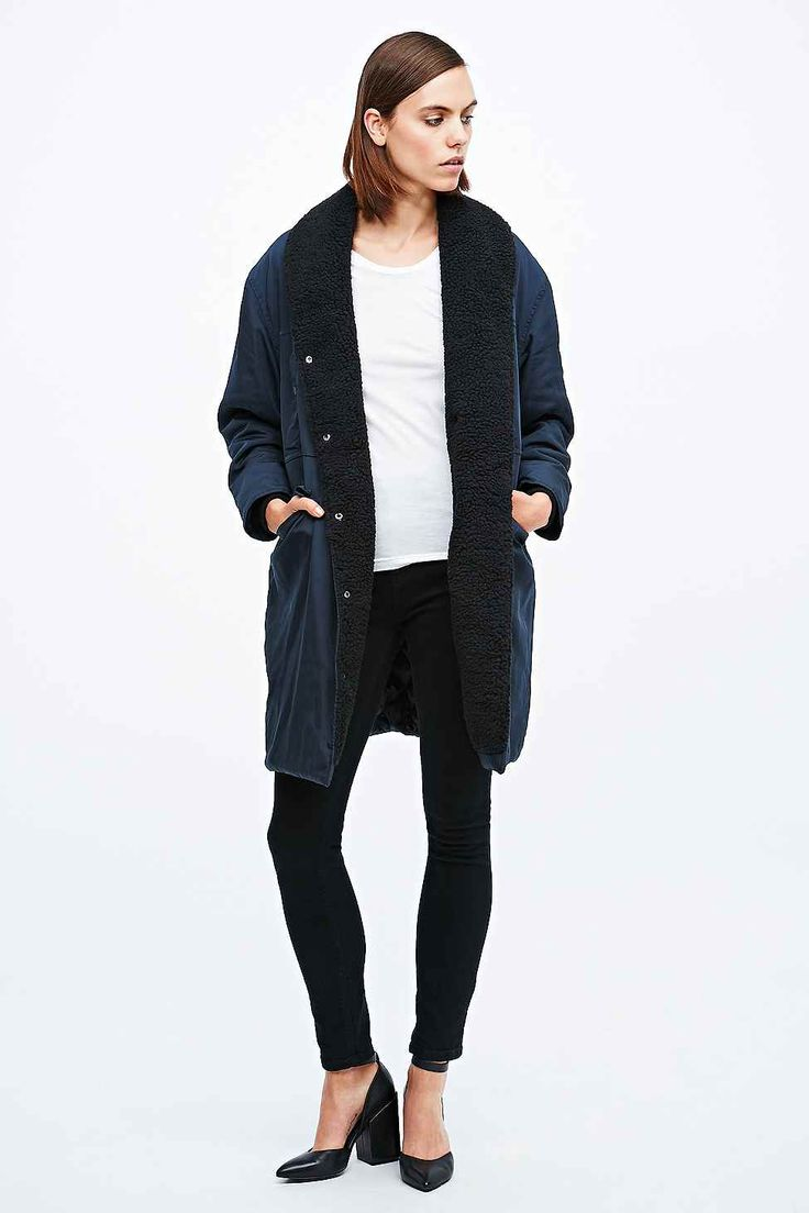 Won Hundred Ivana Coat in Navy, Urban Outfitters