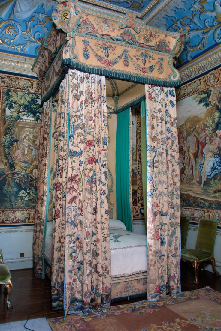 Tapestries behind state bed, Houghton Hall, Norfolk, England.