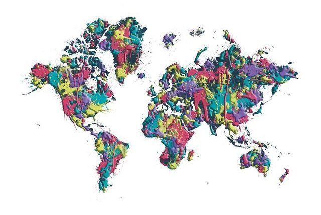 Poster oder Leinwandbild »M. Viola: POP ART Weltkarte weiß, Farbspritzer«