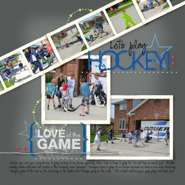 Let's play hockey.scrapbook layout