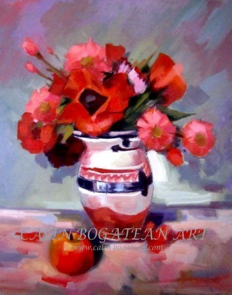 Maci și garofițe în Vas de lut pictură în ulei pe pânză natură statică tablou realist pictură hiperrealistă lucrare originală de artă pictată de pictorul profesionist Călin Bogătean membru al Uniunii Artiștilor Plastici Profesioniști din România.  Picturi cu flori tablouri florale flori pictate pe panza natură moartă pe pânză natură statică picturi flori