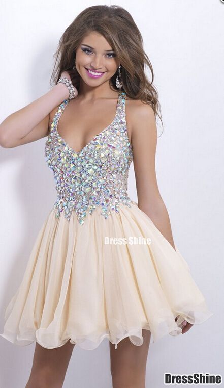 2015 Amazing V Neck lace with Beadings Nude Homecoming Dresses, Prom Dress