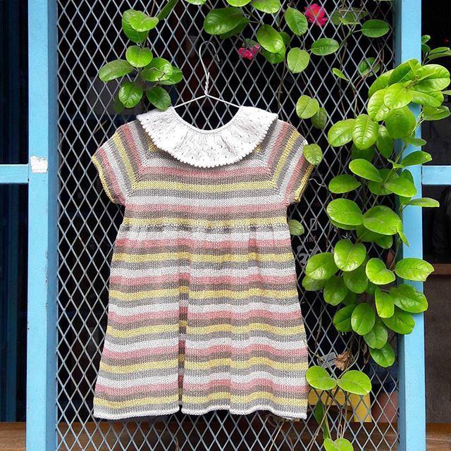 The  PETITE CANDY DRESS  pattern is now available in English. Find it on the Web shop: www.petitesomething.com  #petitecandydress #babydress #knitteddress #knittedpattern #englishpattern #petitebabycollar #stribetkjole #strikkeopskrift #strikketkjole #pigekjole #jentestrikk #petitesomething