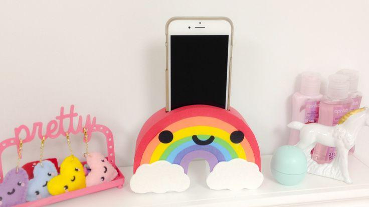 DIY Rainbow Phone holder-EASY Room Decor ideas.// I would make this a watermelon instead