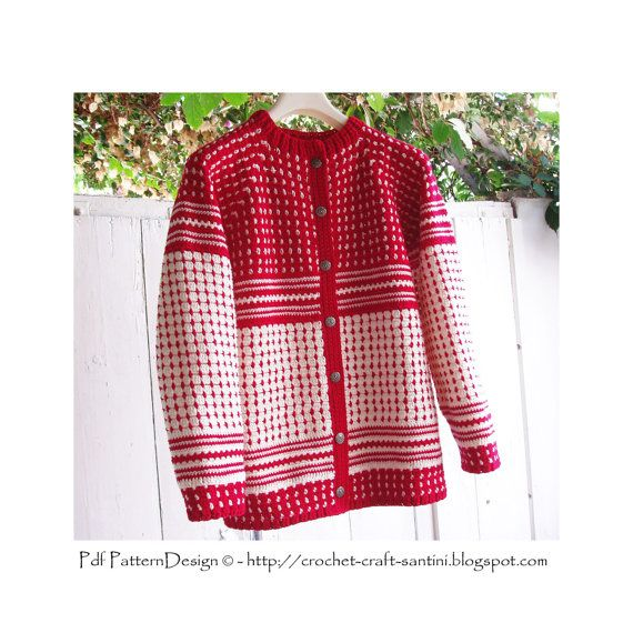Norwegian style SweaterCardigan Crochet by PdfPatternDesign