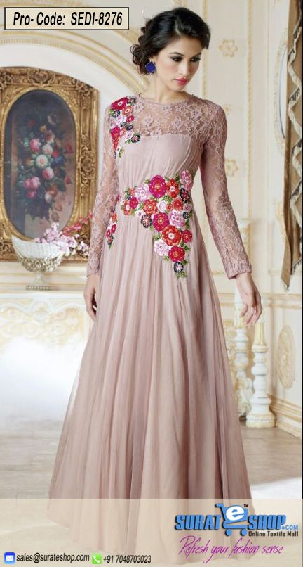You'll Be Confident To Make A Strong Style Statement With This Rosy Brown Net Gown. The Wonderful Attire Creates A Dramatic Canvas With Incredible Butta Work, Floral Patch, Resham Work. Paired With A Matching   Visit: http://surateshop.com/product-details.php?cid=2_27_47&pid=11507&mid=0