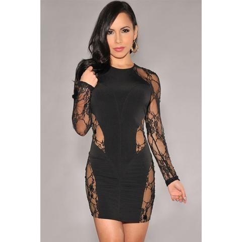 Black Lace Nude Bodycon Dress Sale LAVELIQ