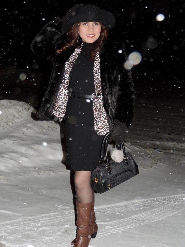 winter photo snowy night  Fur black coat