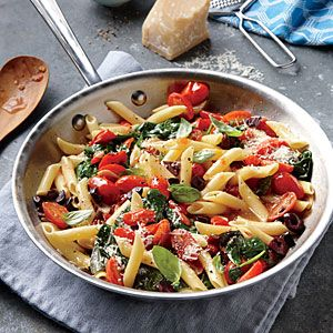 """Grape Tomato, Olive, and Spinach Pasta 305 Cal/Serving I made this because I had most of the ingredients and I thought for sure it was going to be """"blah"""" but oddly enough I LOVED it!! It had a bit of a kick to it, so no boring flavor at all. Loved it and quick & easy!"""