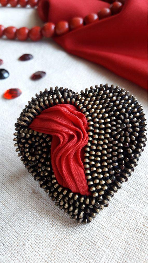 Heart brooch Zipper heart metal brooches Zipper by ZASTIBKA