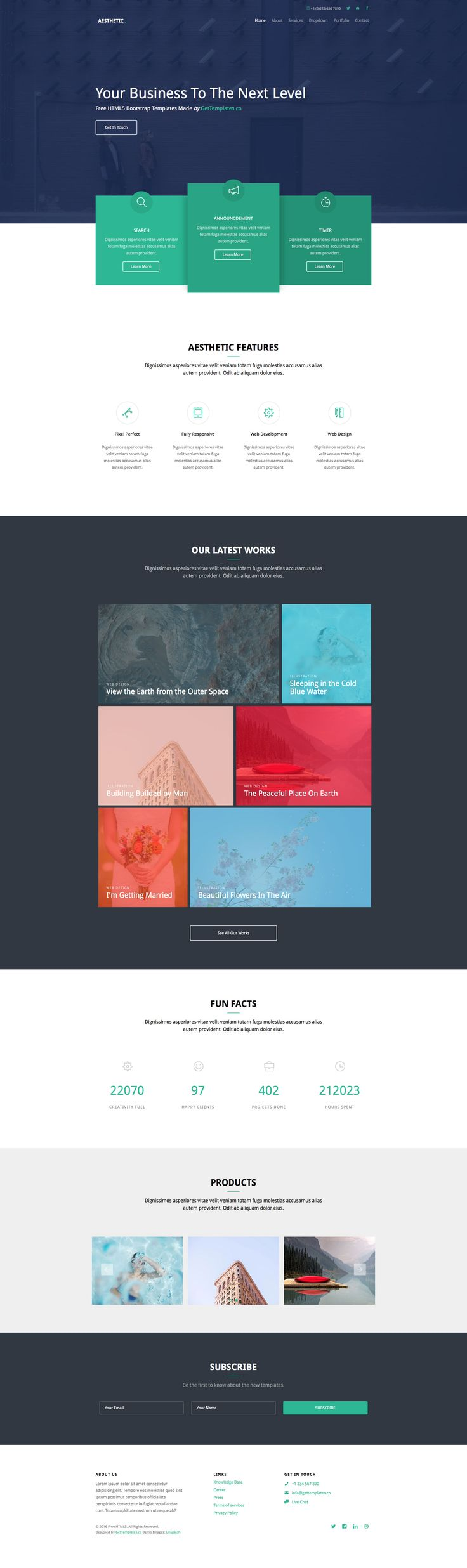 Aesthetic is a free responsive HTML5 website template based on Bootstrap 3 front-end framework. The perfect choice for portfolio, agency, landing websites. This template is build with features like drop-down menu, off-canvas menu on mobile, smooth animation, carousel, jQuery counter and many more.