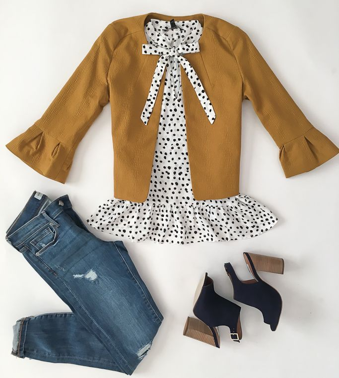 Banana Republic distressed skinny jeans, Banana Republic polka dot ruffle top, Loft Lantern sleeve jacket, Steve Madden Claara Block Heel Sandals