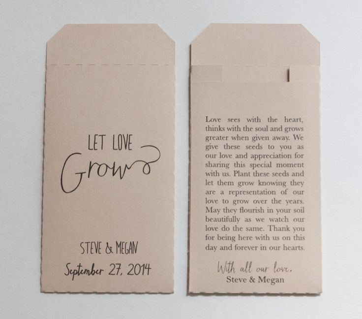 Custom Printed Cream Wedding Favor Seed Packet Envelopes - Many Colors Available by Megmichelle on Etsy https://www.etsy.com/listing/203427715/custom-printed-cream-wedding-favor-seed