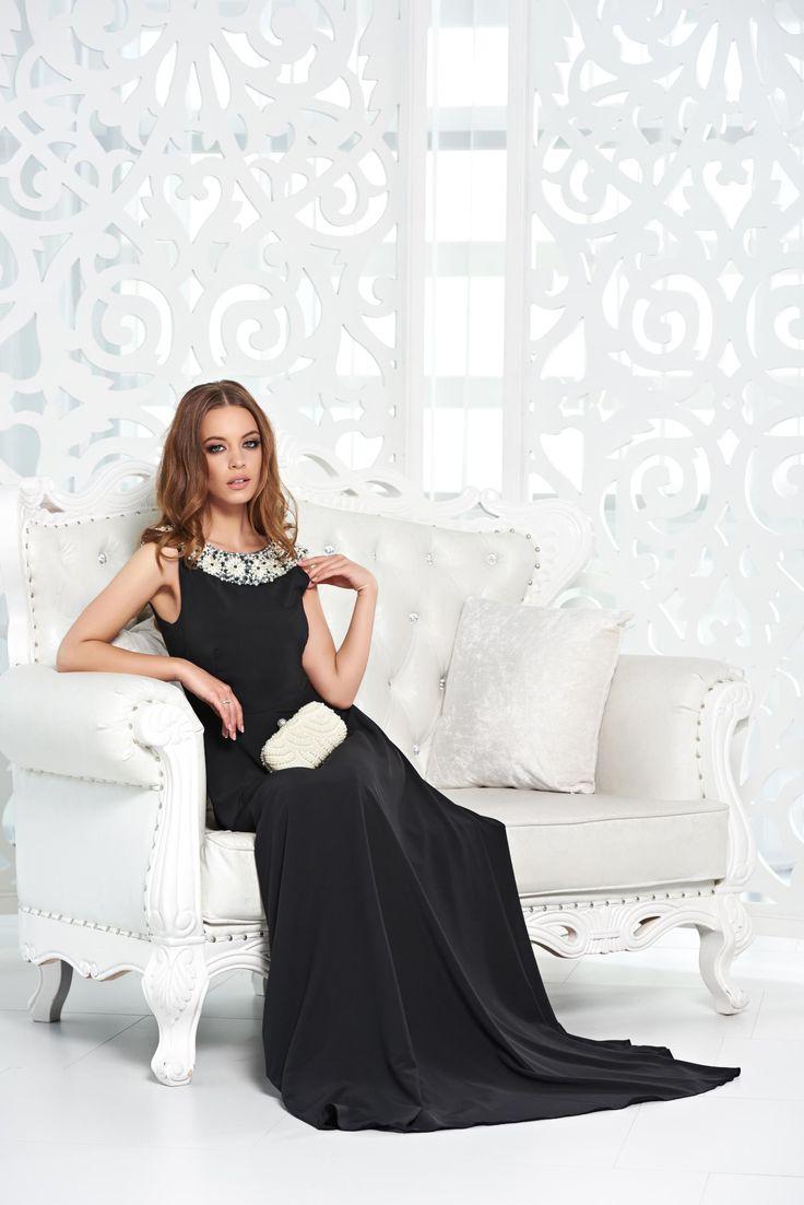 Rochie StarShinerS Noble Look Black. Rochie lunga, din voal, cu spate decupat…