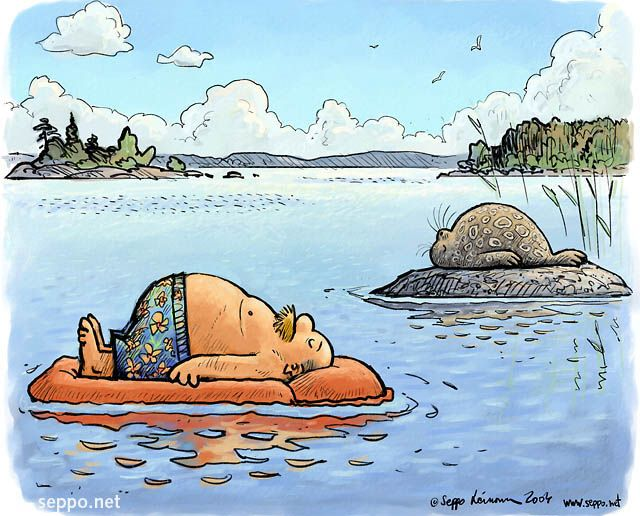 Kesäloma, mies ja norppa, keywords:  Kesäloma mies norppa Saimaa saimaannorppa loma järvi ranta piirros pilapiirros
