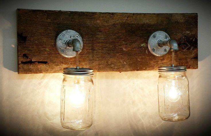 Mason jar 2 light fixture primitive industrial rustic bathroom vanity