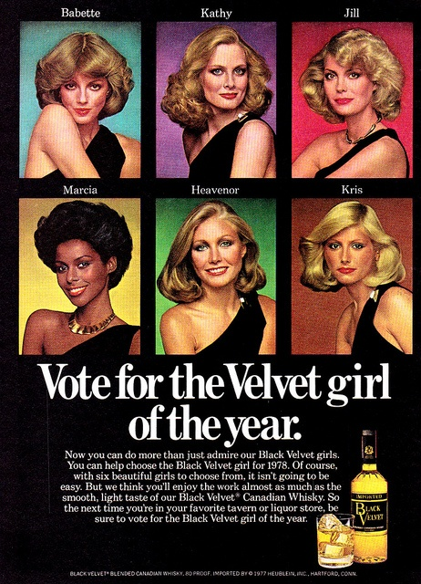 """Vote for the Velvet Girl of the Year"", Black Velvet Canadian Whiskey, 1978"